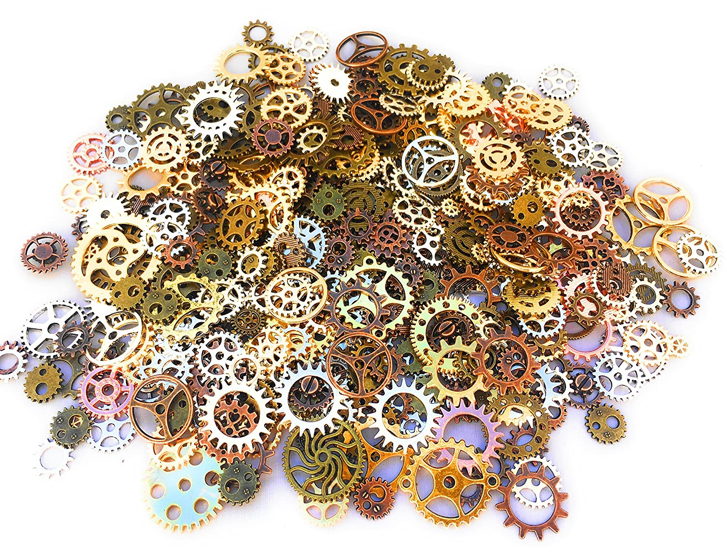 500 PCS Steampunk Gears Antique Assorted Mixed Color Vintage Silver Gold Bronze Jewelry Scrapbooking Charms Wheel Cog DIY ART Random Shapes and Sizes Made By Mello Products 4336848067