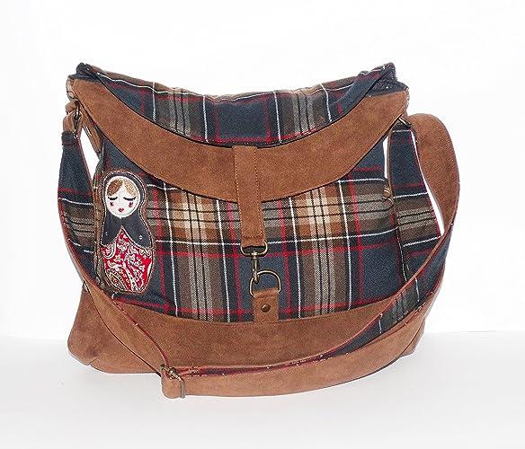 142b9dc05b besace / sac à main / sac à bandoulière femme - simili-cuir marron tissus