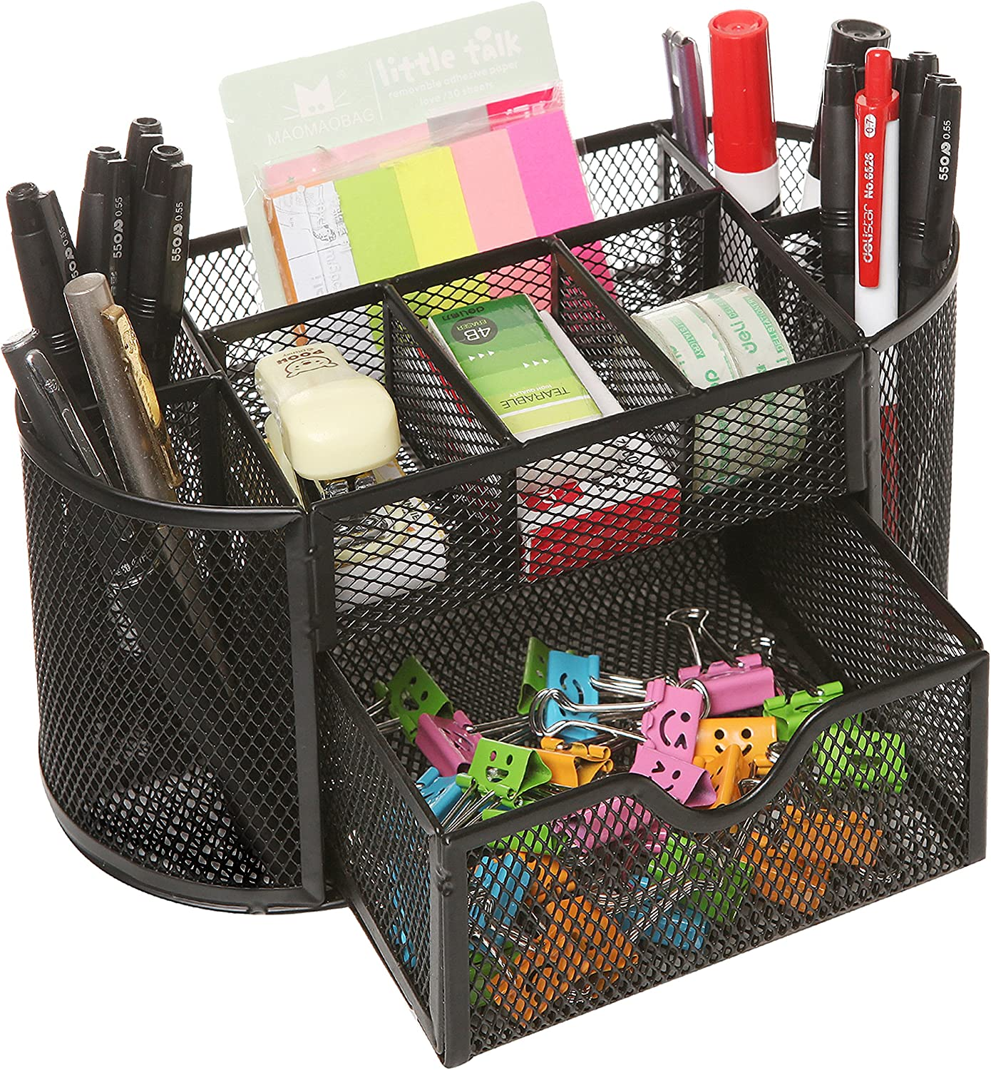 MyGift Space Saving Black Metal Wire Mesh 8 Compartment Office/School Supply Desktop Organizer Caddy w/Drawer