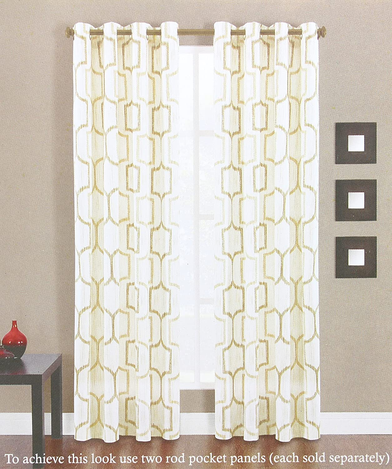 Portinari Grommet Top Window Curtain Panel in Natural 50 Inches Wide x 95 Inches Length