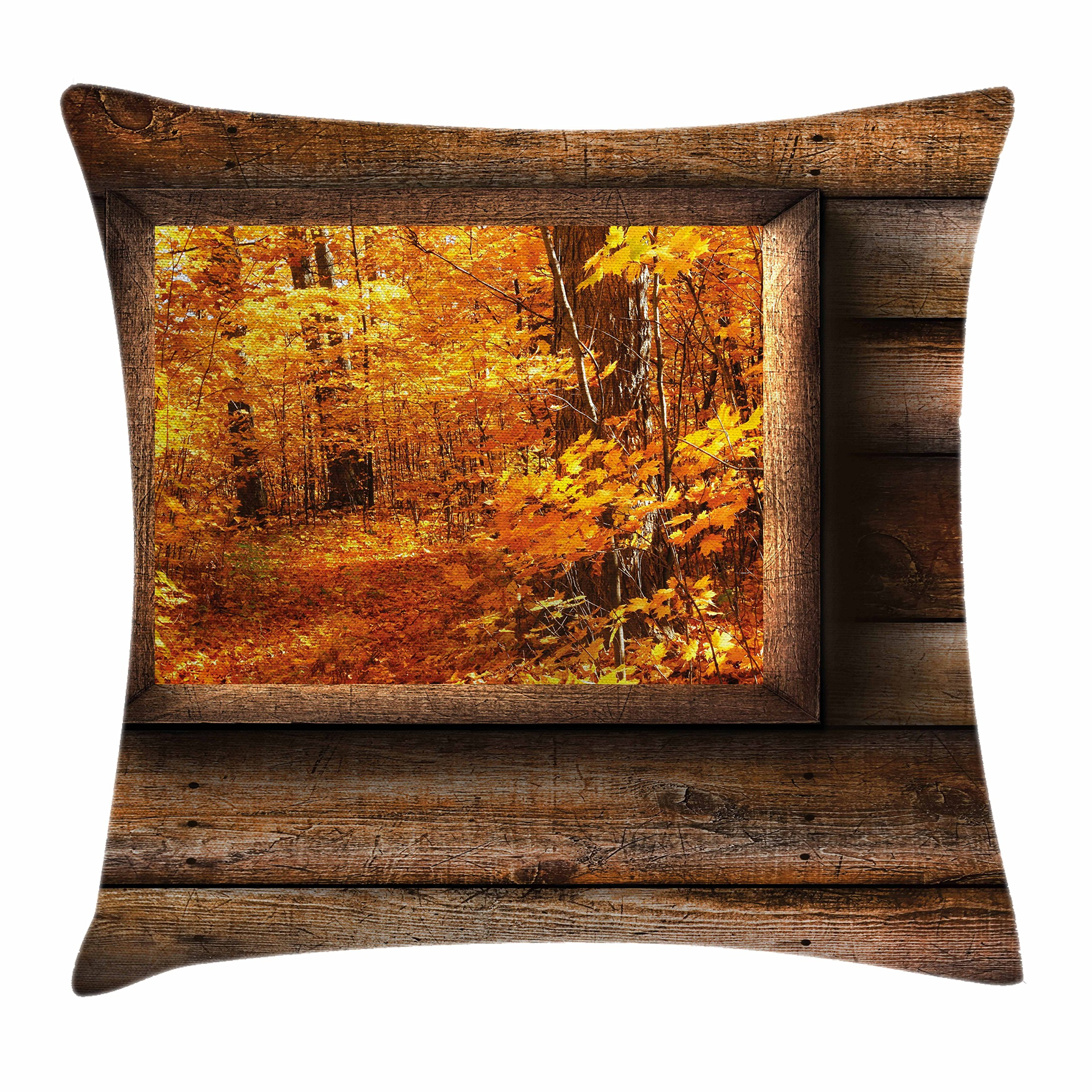 Ambesonne Fall Throw Pillow Cushion Cover, Fall Foliage View from Square Shaped Wooden Window Inside Cottage Rustic Life Photo, Decorative Square Accent Pillow Case, 26 X 26 inches, Orange Brown