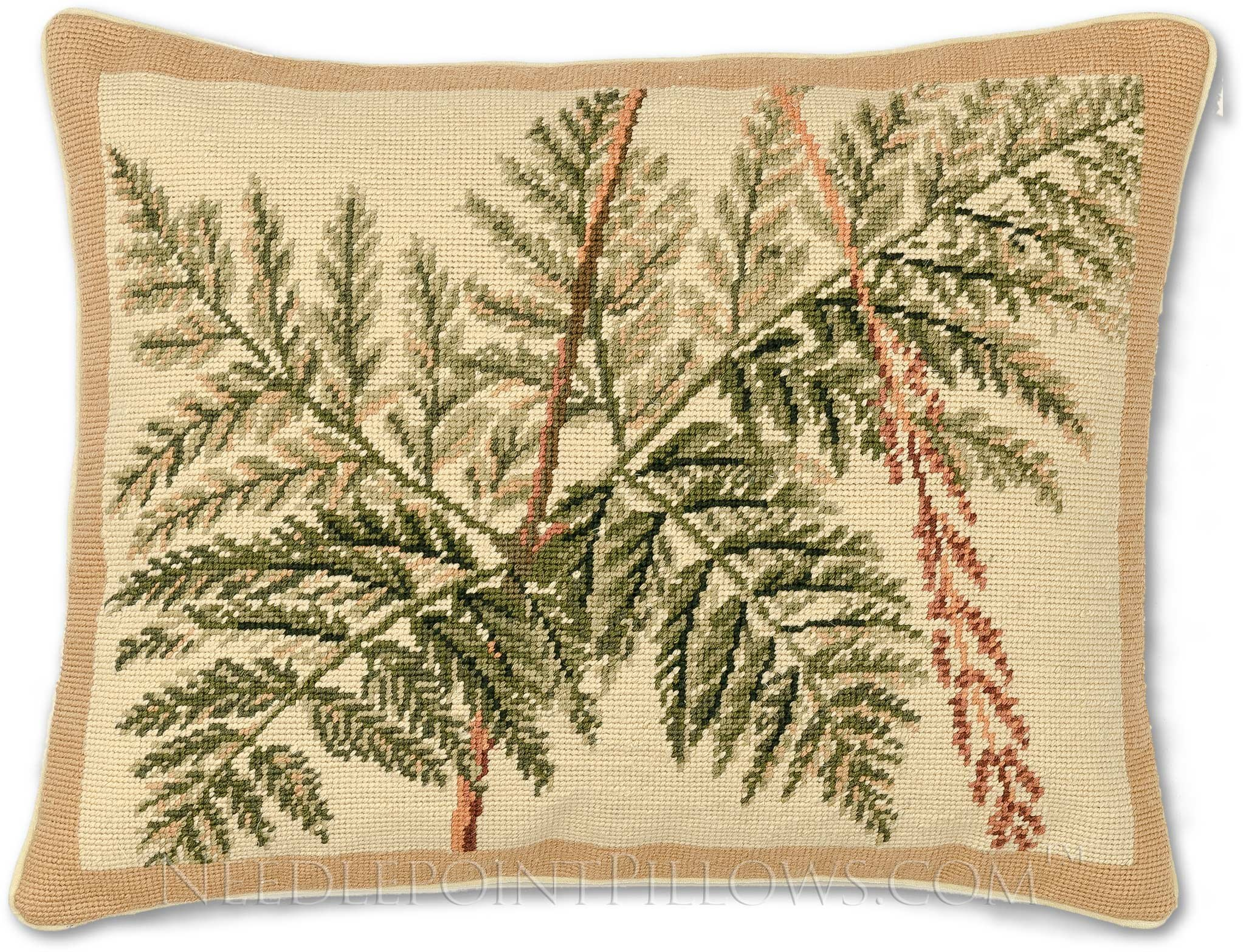 Handmade 100% Wool Needlepoint Fern Leaves Throw Pillow. 16'' x 20''. by NeedlepointPillows.com