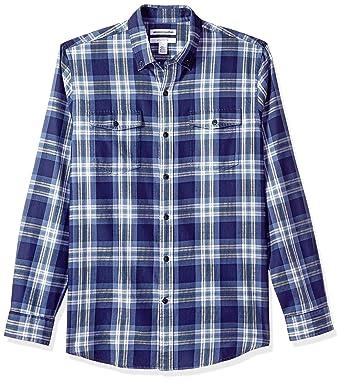 the latest 8ac7a e142b Amazon Essentials - camicia da uomo a maniche lunghe, in twill, con due  tasche