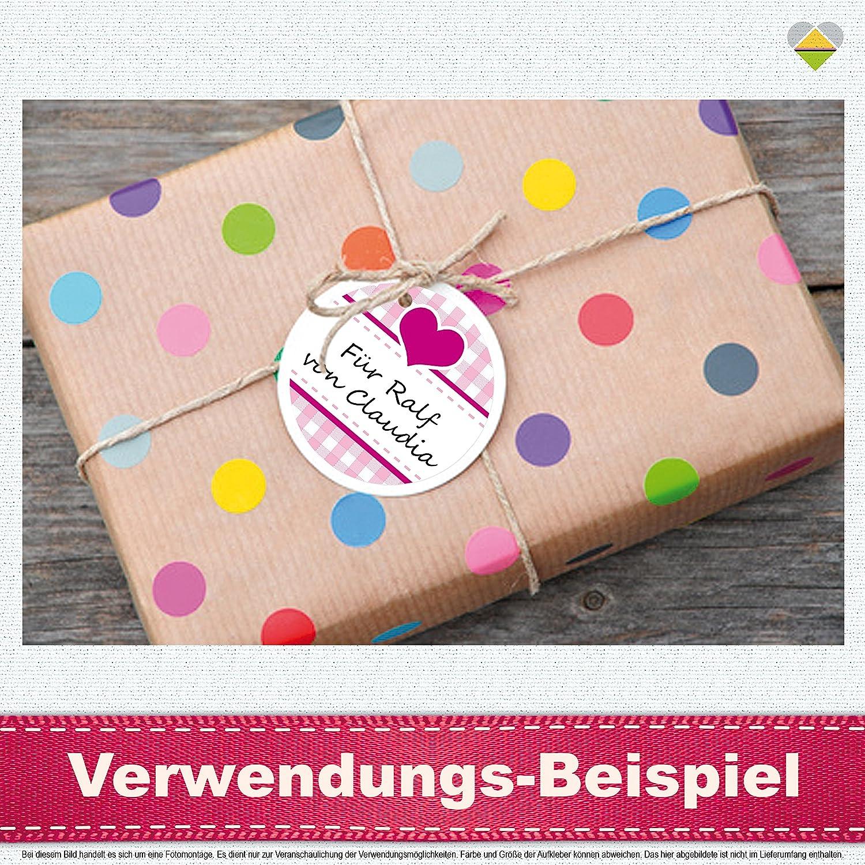 24 Aufkleber//Etiketten//Sticker F00038-09-BS inkl Rund Landhausstil Kariert Herz CuteLove /& Head-Beat Cyan//Braun Beschriftungs-Service /Ø 40 mm