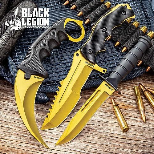 Black Legion Solar Gold Triple Knife Set – Karambit, Hunter Knife, Survival Knife, Stainless Steel Blades, TPU Handles, Nylon Sheaths