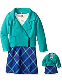 cf1c240bff400 Dollie & Me Girls' Texture Moto Jacket with Knit to Plaid Dress