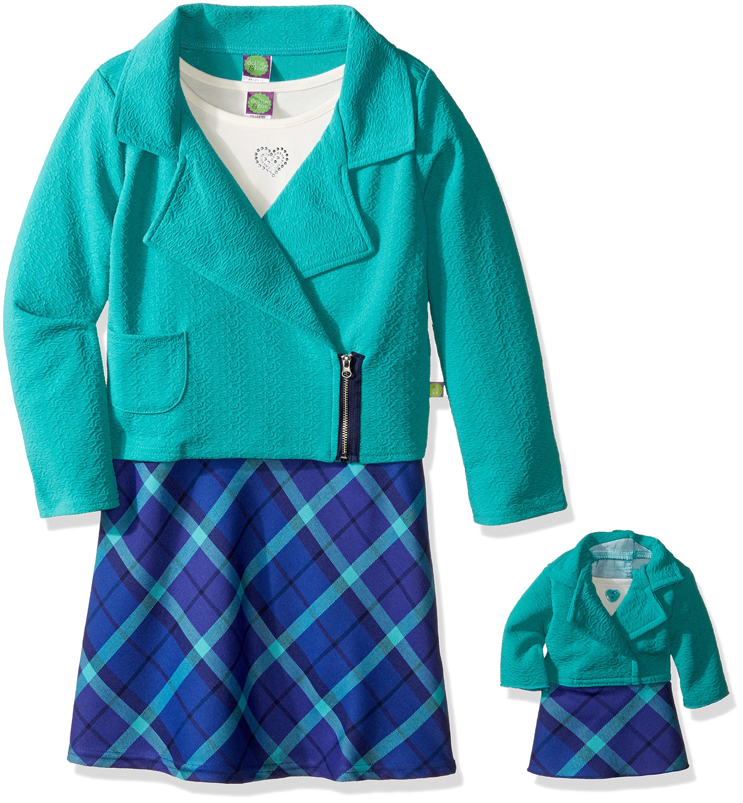 Dollie & Me Big Girls' Texture Moto Jacket with Knit to Plaid Dress, Teal/Multi, 12 by Dollie & Me