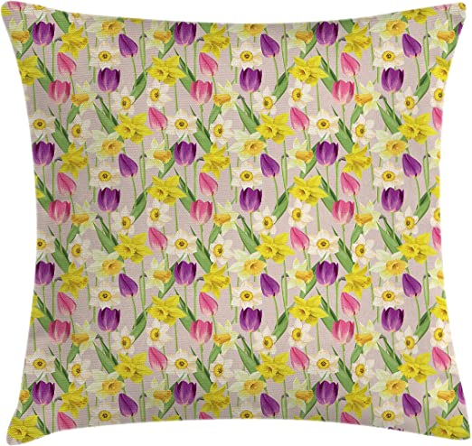 Amazon Com Ambesonne Daffodils Throw Pillow Cushion Cover Tulip And Daffodil Flowers Stems And Leaves Summertime Vintage Artwork Decorative Square Accent Pillow Case 16 X 16 Purple Yellow Green Home Kitchen