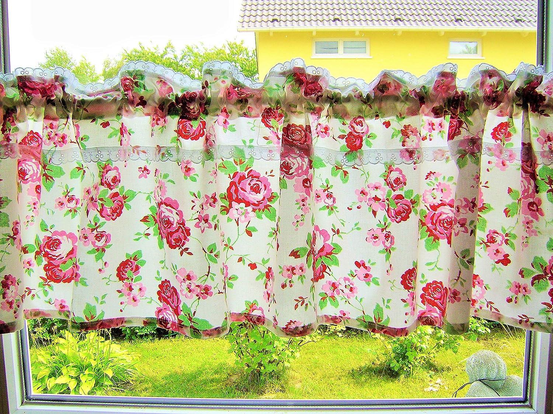 rosengardine,handmade Landhausgardine,Blumengardine,Kurzgardine,Scheibengardine,Bistrogardine