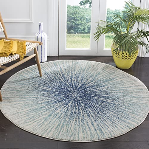 Safavieh Evoke Collection EVK228A Contemporary Burst Royal Blue and Ivory Round Area Rug 5 1 Diameter