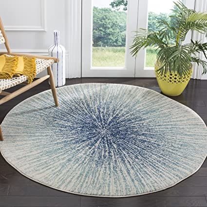 eab9cd728 Amazon.com: Safavieh Evoke Collection EVK228A Contemporary Burst Royal Blue  and Ivory Round Area Rug (5'1