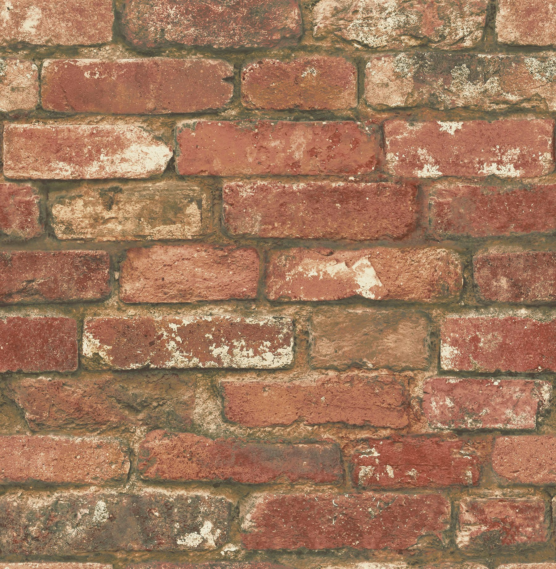 NuWallpaper NU2214 West End Brick Peel & Stick Wallpaper, Red by NuWallpaper