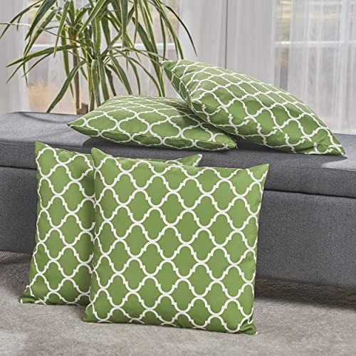 Christopher Knight Home Amberlynn White Print on a Green Background Fabric Throw Pillows Set of 4