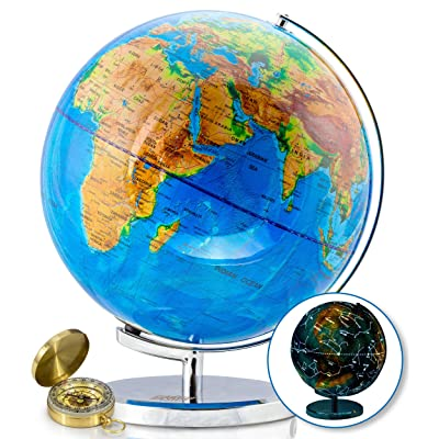 13 Inch Illuminated World Globe & Compass by GetLifeBasics: See the Earth and the Stars in Details. Large Constellation View Night, Kids Educational Interactive Astronomy & Geographic Map