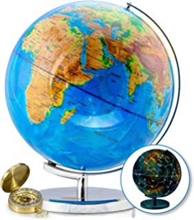 Amazon usa toyz led globe of the world 3 in 1 world globe 13 inch world globe compass by getlifebasics see the earth and the stars in gumiabroncs Gallery