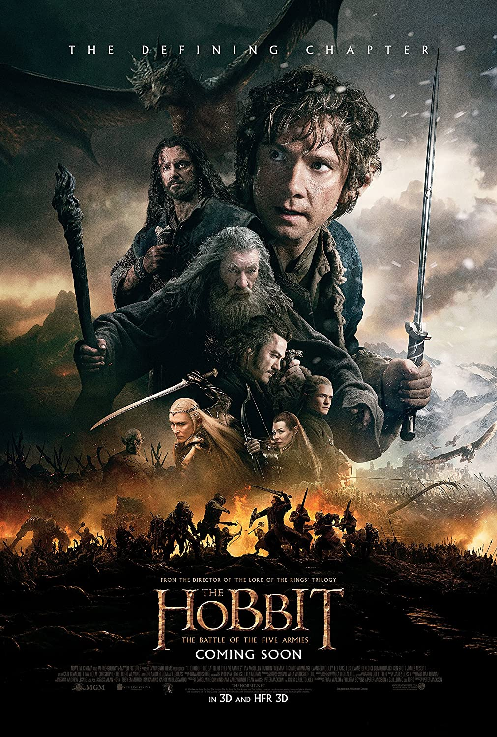 "The Hobbit : Battle of Five Armies - Movie Poster (Thick) (Size: 24"" x 36"")"