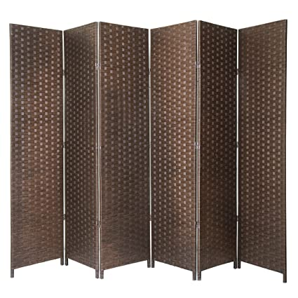 Terrific Mygift 6 Panel Seagrass Woven Freestanding Room Divider Privacy Screen With Wood Frame Brown Download Free Architecture Designs Embacsunscenecom