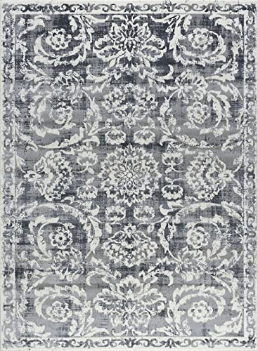 Laurel Transitional Oriental Gray Rectangle Area Rug, 7.6 x 10