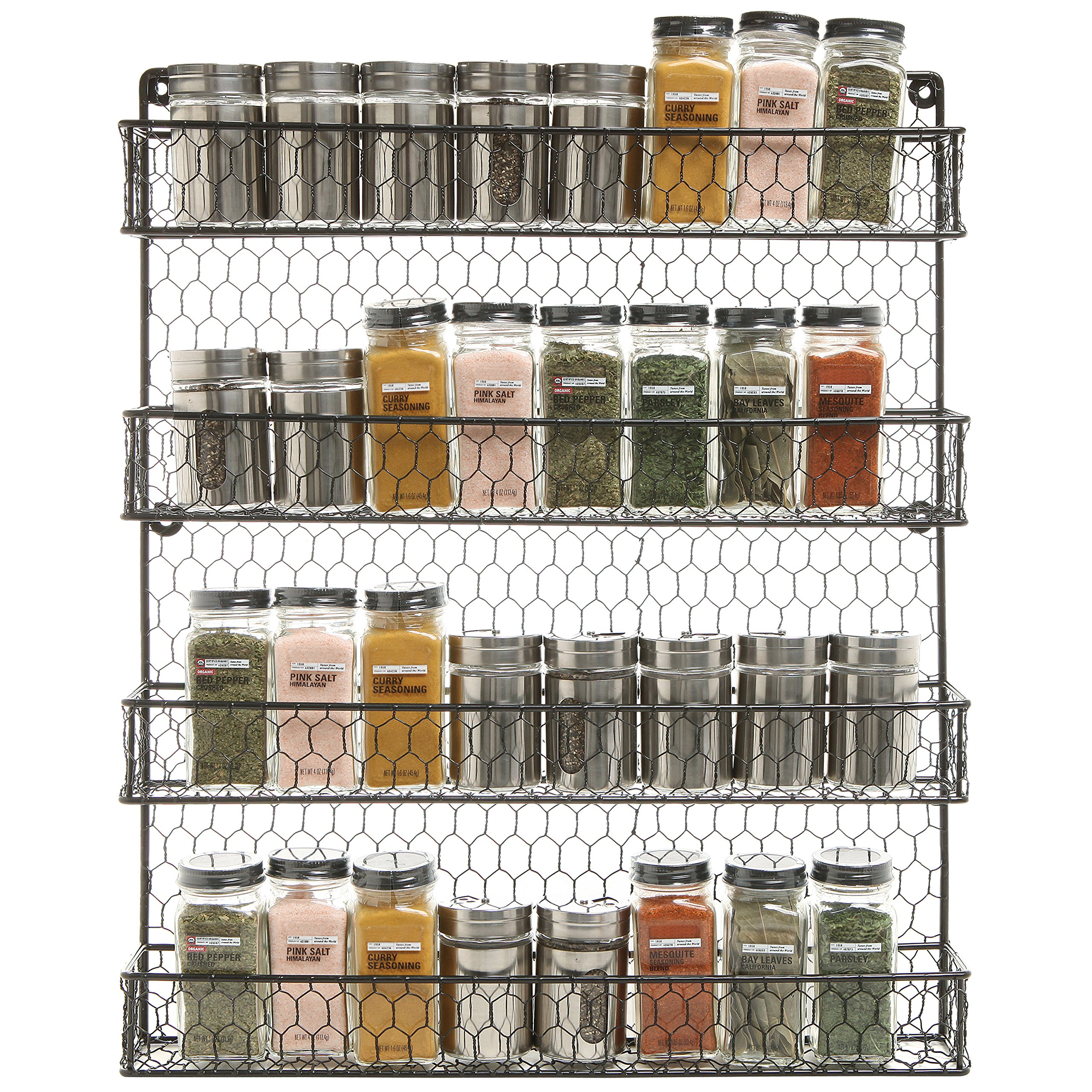 4 Tier Black Country Rustic Chicken Wire Pantry, Cabinet or Wall Mounted Spice Rack Storage Organizer by MyGift (Image #2)