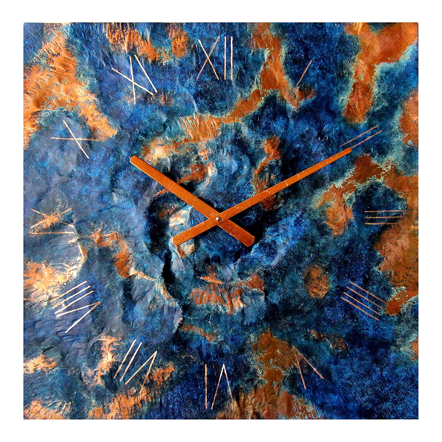Oversized Square Copper Rustic Wall Clock 24-inch Silent Non Ticking Gift for Home//Office//Kitchen//Bedroom//Living Room