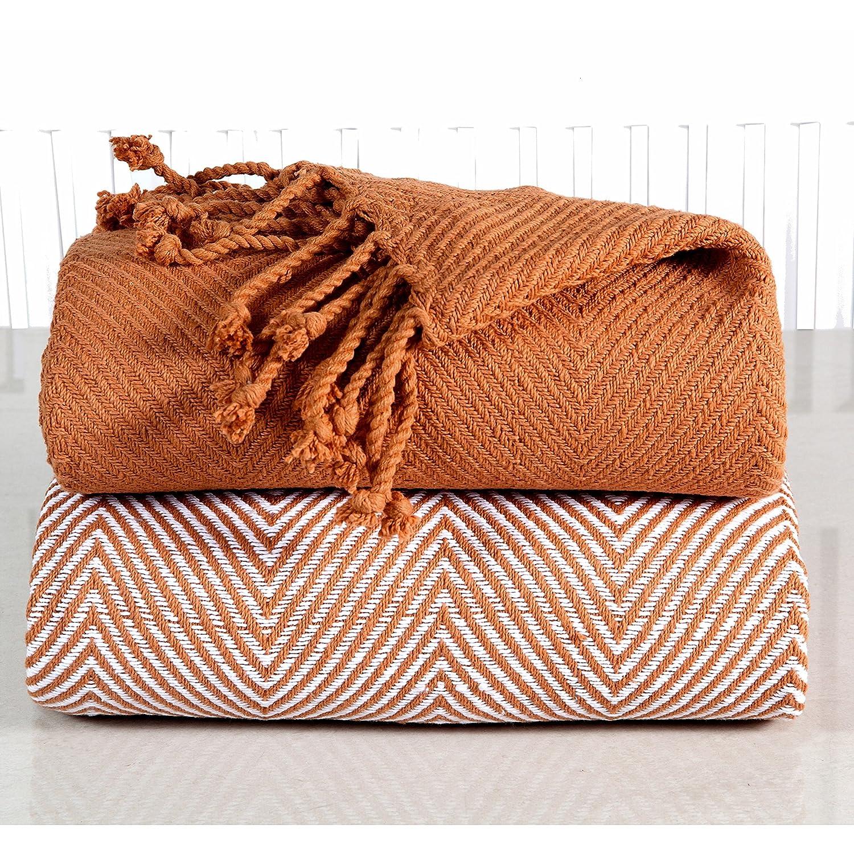2ピース銅Plain Weave Throw、洗濯機(のセット2)、補完と、幾何パターン、リバーシブル、ヘリンボーンデザイン、100パーセントソフトコットン素材、タンジェリン、ライトオレンジ B01LXW394R