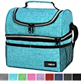(Standard, Turquoise) - Thermal Insulated Dual Compartment Lunch Bag for Men, Women Double Deck Reusable Lunch Box with Shoulder Strap, Leakproof Liner Medium Lunch Box for School, Work, Office (Turquoise)