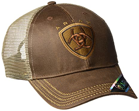3bf9aea2734 low cost ariat mens oil skin mesh snap back hat brown one size at amazon  mens