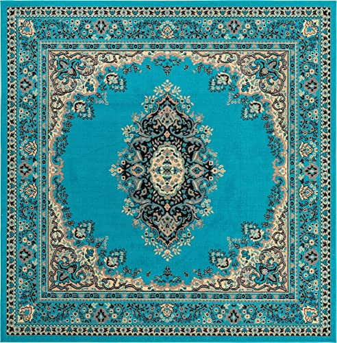Unique Loom Reza Collection Classic Traditional Turquoise Square Rug 8 0 x 8 0