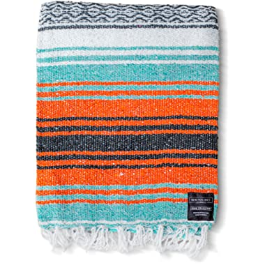 Mexican Blanket - Authentic Falsa Thick Soft Woven Acrylic Yoga Serape or as Beach Throw, Picnic, Camping, Travel, Hiking, Adventure, Pillow, Blankets in Pink, Mint, Sand, Mandarin, Gray, Sky Blue