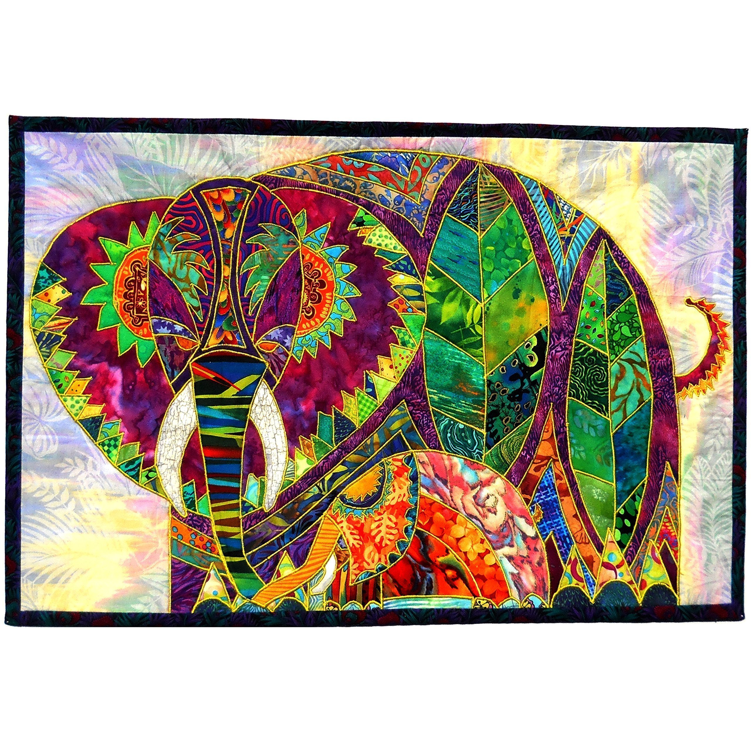 Textile Wall Hanging Animal Art Quilt Tapestry,Rose Tu & Lily Mama & Baby Elephants, OOAK Home Decor by Dreamscape Studio (Image #1)