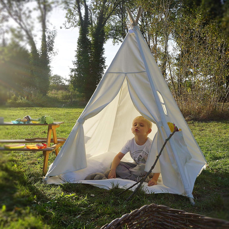 Moritz & Moritz Tenda Indiani Bambini - Tenda Teepee Bambini - con Pavimento e Finestra - Teepee per Casa e Giardino (Rosa) Bianco