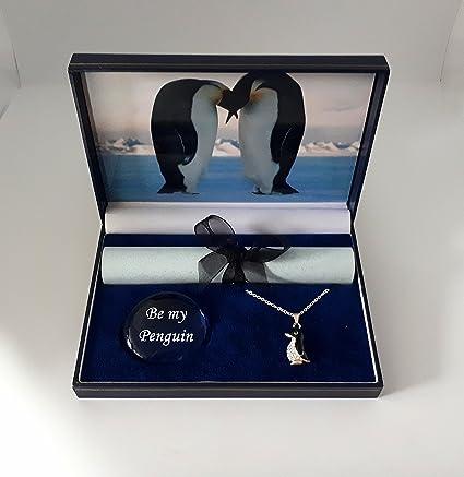 """cd24eebc0e Confezione regalo """"Il bacio dei pinguini imperatore"""" con ciondolo con  strass a forma di"""