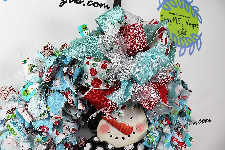 Amazon.com: Snowman Fabric Wreath, Blue and Red Christmas Decor ...