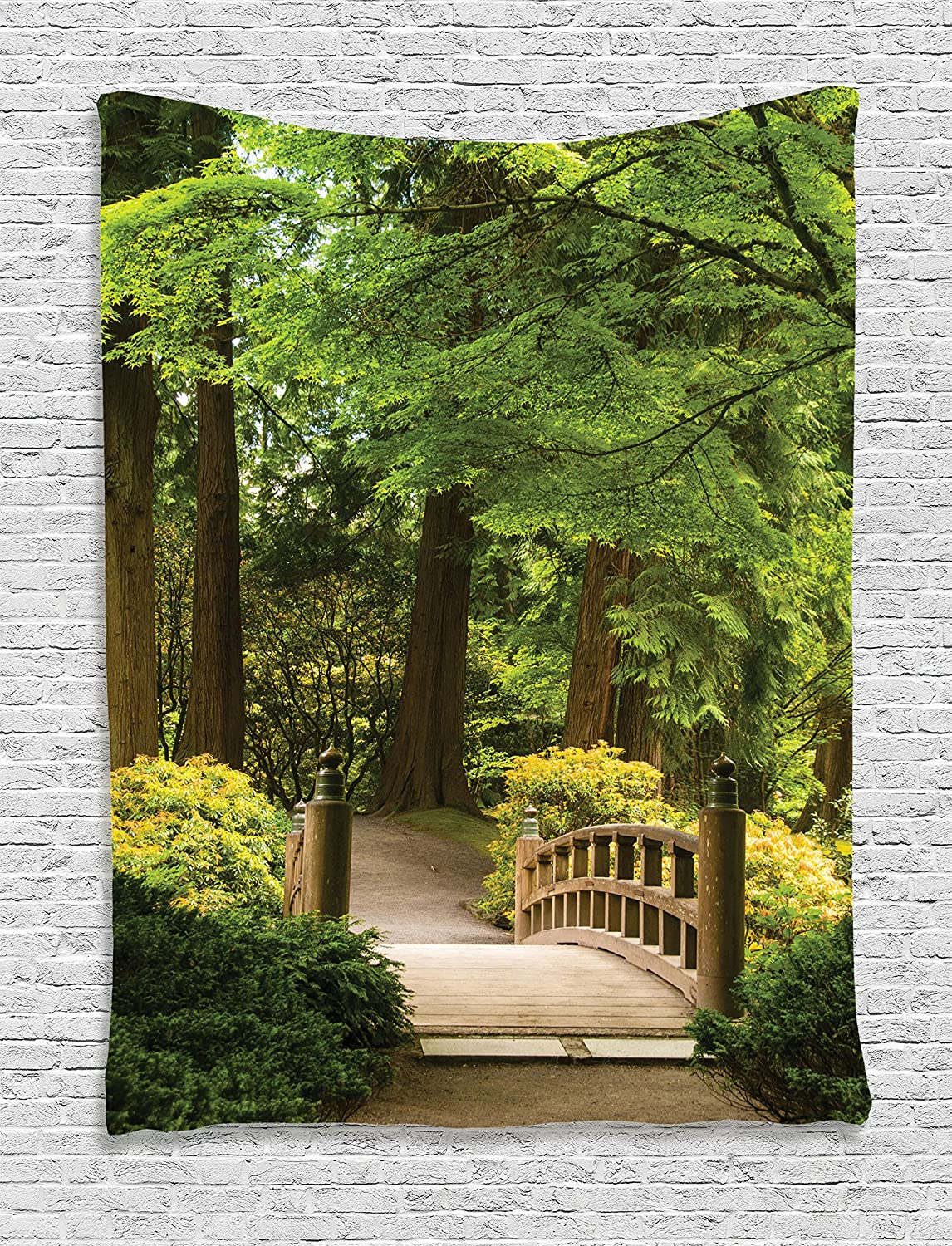 Ambesonne Japanese Tapestry, Wooden Bridge Over Pond in Garden Calmness in Shadow of Trees Serenity in Nature, Wall Hanging for Bedroom Living Room Dorm Decor, 40