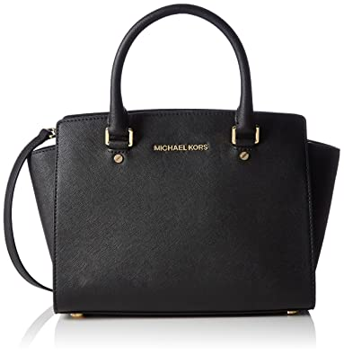 b13626b40505d0 MICHAEL Michael Kors Selma Satchel, Black, Medium: Handbags: Amazon.com