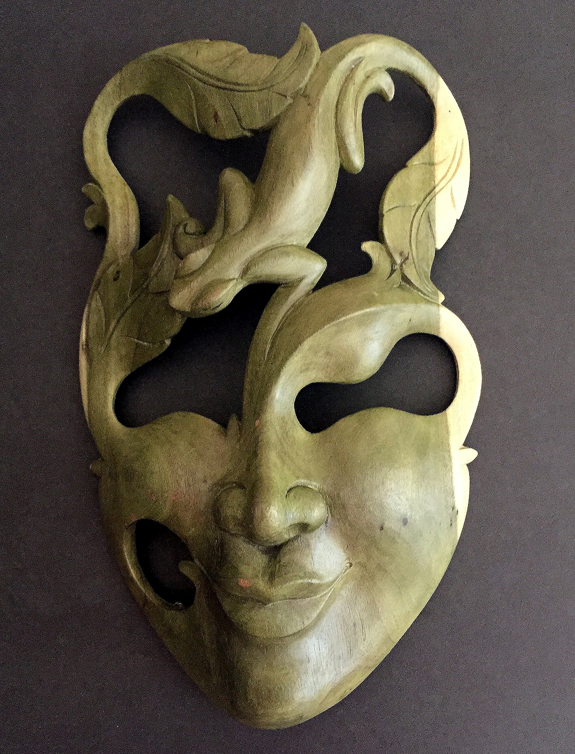 OMA Wood Carved African Mask Wall Art Goddess of Fortune Abstract Art Wall Hanging Decor - Collector's Item Brand (Fortune)