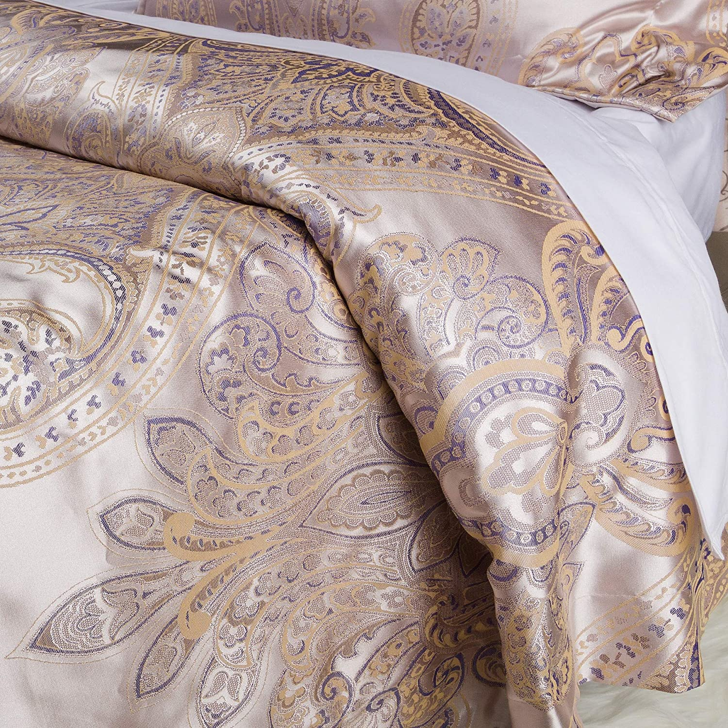 Luxurious Duvet Cover Sets Cotton Rich Silky Woven Jacquard Breathable Stain and Fade Resistant Memories of Italy (Amalfi, King)