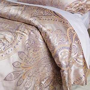 Luxurious Duvet Cover Sets Cotton Rich Silky Woven Jacquard Breathable Stain and Fade Resistant Memories of Italy (Amalfi, Queen)