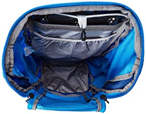 The main pack's interior has provisions for a hydration bladder