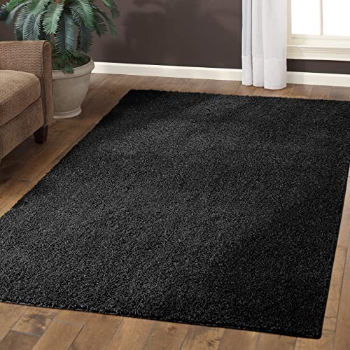 Area Rugs, Maples Rugs Made in USA Catriona 7 x 10 Non Slip Padded Large Rug for Living Room, Bedroom, and Dining Room – Rich Black