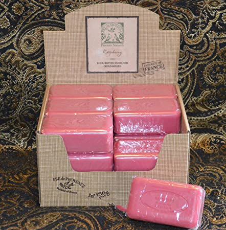 Case of 18 Pre de Provence Raspberry Scent 150 gram shea butter large soap bars
