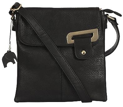 06997f8da7 Big Handbag Shop Womens Medium Trendy Messenger Cross Body Shoulder Bag  With a Branded Protective Storage