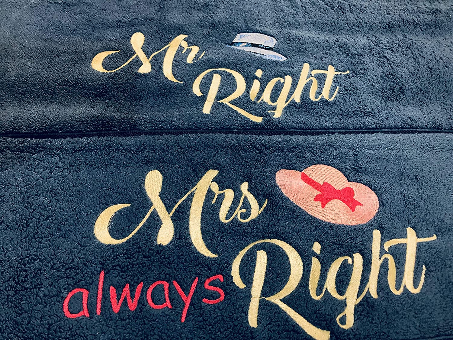 30 X 56 inches Couples Gift Embroidered His Her Blue Prick-N-Pounce Customized Large 100/% Cotton Bath Towel Set Two