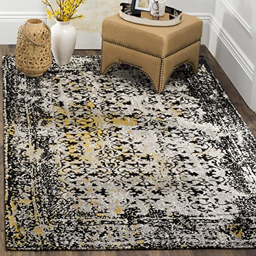 Safavieh CLV223A-9 Classic Vintage Collection CLV223A Black and Silver Premium Cotton 9 x 12 Area Rug