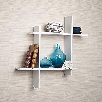 Danya B FF6014W Laminate Square Floating Wall Shelf, White