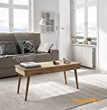 Hogar24 Handmade Elevating Vintage-Style Coffee Table Made out of Natural Solid Wood - 100 cm x 50 cm x 47 cm