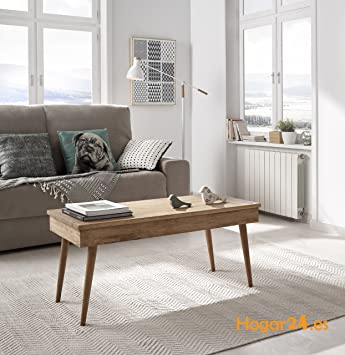 Hogar24 Table Basse Relevable Design Vintage En Bois Massif Naturel Fabrication Artisanale 100 Cm X 50 Cm X 47 Cm