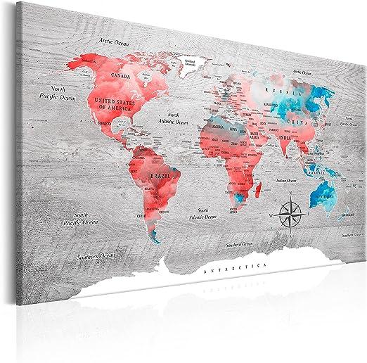 murando Cuadro en Lienzo 60x40 cm - Poster Mapa del Mundo 1 Parte Impresión en Material Tejido no Tejido Impresión Artística Imagen Gráfica Decoracion de Pared k-C-0049-b-d: Amazon.es: Hogar