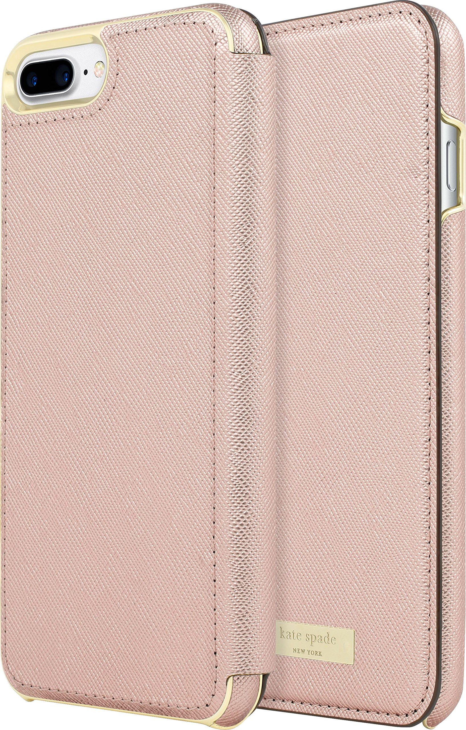 kate spade new york Protective Folio Case for iPhone 7 Plus - Saffiano Rose Gold with Logo Plate
