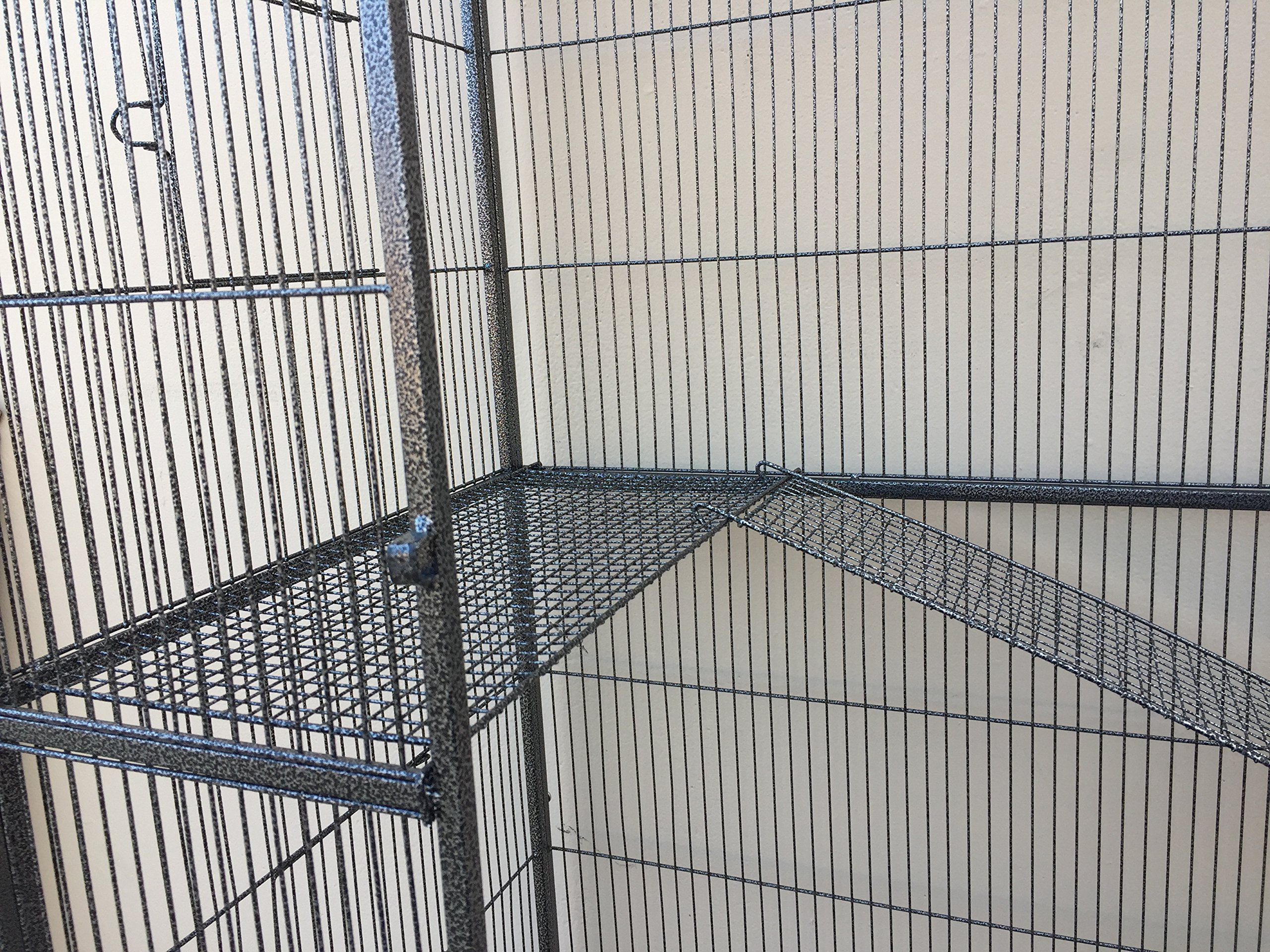 New Large Wrought Iron 4 Levels Ferret Chinchilla Sugar Glider Rats Cage With Removable Stand, 32-Inch by 19-Inch by 60-InchBlack Vein
